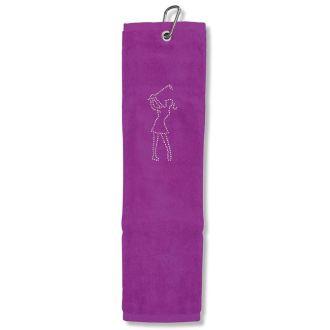 Surprizeshop Crystal Lady Golfer Tri-Fold Golf Towel
