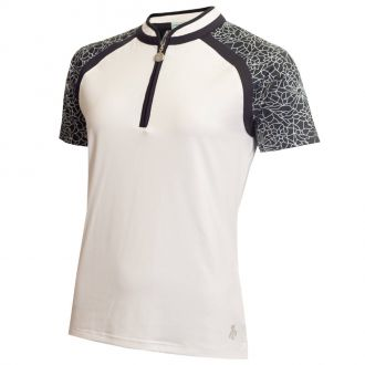 Green Lamb Eithne Raglan Zip Neck Ladies Golf Polo Shirt-White/Navy (GLAG20840-WNV)-S