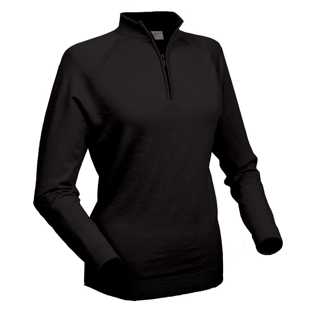 Glenbrae Ladies Merino Zip Neck Pullover
