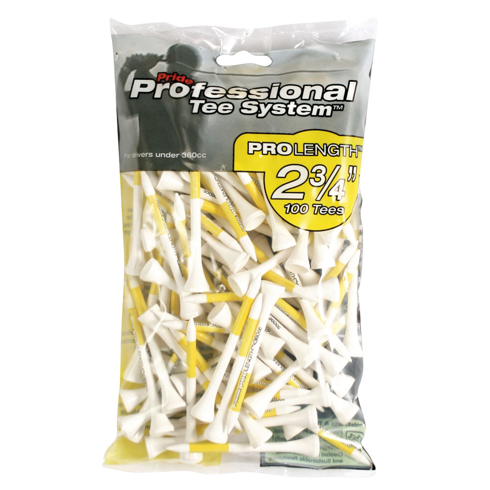 Pride PTS ProLength 69mm Golf Tees - 100 Pack